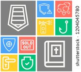 simple set of  10 outline icons ... | Shutterstock .eps vector #1204045780