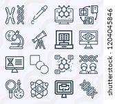 simple set of  16 outline icons ... | Shutterstock .eps vector #1204045846