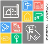 simple set of  10 outline icons ... | Shutterstock .eps vector #1204050640
