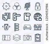 simple set of  16 outline icons ... | Shutterstock .eps vector #1204052986