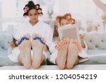 spa day in beauty salon. little ...   Shutterstock . vector #1204054219