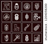 set of 16 food outline icons... | Shutterstock .eps vector #1204058200