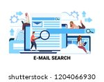 mix race people magnifier zoom... | Shutterstock .eps vector #1204066930