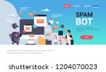 spam bot email spamming attack...   Shutterstock .eps vector #1204070023