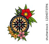 compass and flowers  old school ...   Shutterstock .eps vector #1204073596
