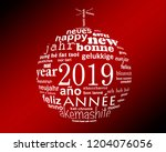 2019 new year multilingual text ... | Shutterstock . vector #1204076056