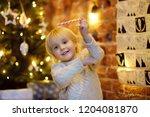 happy little boy takes sweet... | Shutterstock . vector #1204081870