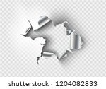 ragged hole torn in ripped... | Shutterstock .eps vector #1204082833
