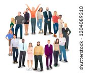 people in a circle ... | Shutterstock .eps vector #1204089310