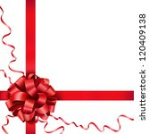 gift red bow with a ribbon on... | Shutterstock .eps vector #120409138