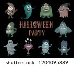 cute cartoon monsters on a...   Shutterstock .eps vector #1204095889