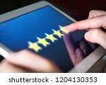5 star rating or review in... | Shutterstock . vector #1204130353