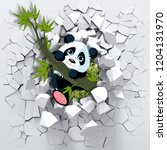 3d background  little panda... | Shutterstock . vector #1204131970