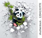 3d background  little panda...   Shutterstock . vector #1204131970
