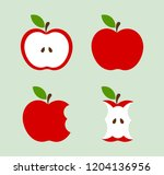 red apples icons set. vector... | Shutterstock .eps vector #1204136956