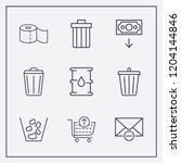 outline 9 waste icon set. money ... | Shutterstock .eps vector #1204144846