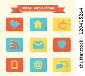 social media icons set. vintage ... | Shutterstock .eps vector #120415264