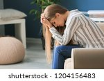 lonely woman suffering from... | Shutterstock . vector #1204156483
