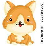 a really happy pure breed corgi ... | Shutterstock .eps vector #1204158070