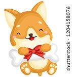 a really happy pure breed corgi ... | Shutterstock .eps vector #1204158076