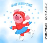 vector cute small pink pig on... | Shutterstock .eps vector #1204158310