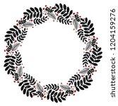 christmas hand drawn wreath... | Shutterstock .eps vector #1204159276