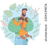 happy father holding on hands... | Shutterstock .eps vector #1204159876
