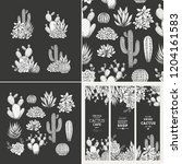 cactus dark design kit. sketchy ... | Shutterstock .eps vector #1204161583