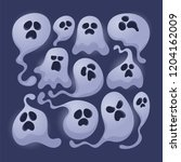 scary ghosts. cartoon style.... | Shutterstock .eps vector #1204162009