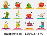 cute fruit and vegetables doing ... | Shutterstock .eps vector #1204164670