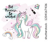 beautiful unicorn and the... | Shutterstock .eps vector #1204167436