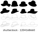 women's hat  set of silhouettes | Shutterstock .eps vector #1204168660