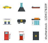 business petrol icon set. flat... | Shutterstock .eps vector #1204178209