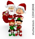 3d happy santa family  ... | Shutterstock . vector #120418048