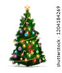 christmas tree with xmas star ... | Shutterstock .eps vector #1204184269