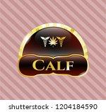 golden badge with medicinal... | Shutterstock .eps vector #1204184590
