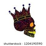 king skull icon side on ... | Shutterstock .eps vector #1204190590