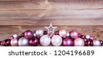 pink and white christmas balls... | Shutterstock . vector #1204196689
