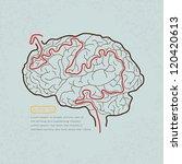 Stock vector brain maze with correct path vector 120420613