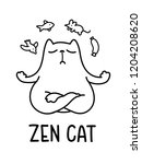 Stock vector a black and white cartoon vector illustration of a zen cat meditating 1204208620