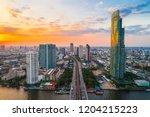 amazing sunset on river over...   Shutterstock . vector #1204215223
