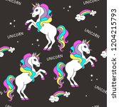 seamless pattern with unicorns... | Shutterstock .eps vector #1204215793