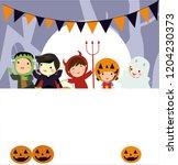 halloween kids costume party.... | Shutterstock .eps vector #1204230373