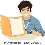 illustration of a teenage guy... | Shutterstock .eps vector #1204234030