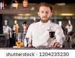 bartenderpresenting coffe... | Shutterstock . vector #1204235230