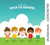 back to school and happy... | Shutterstock .eps vector #1204236700