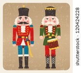 two grunge colored nutcrackers