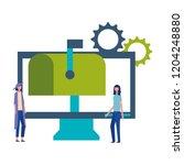 business women computer email...   Shutterstock .eps vector #1204248880