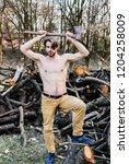 man beaded brutal sexy... | Shutterstock . vector #1204258009