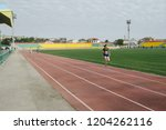 Small photo of ATYRAU/KAZAKHSTAN - SEPTEMBER 28,2018. 6 international sports games of students of universitets of the caspian region states.Athletics. Women, 100, 200, 400, 800 meters, 4 * 100.4 * 400 relay